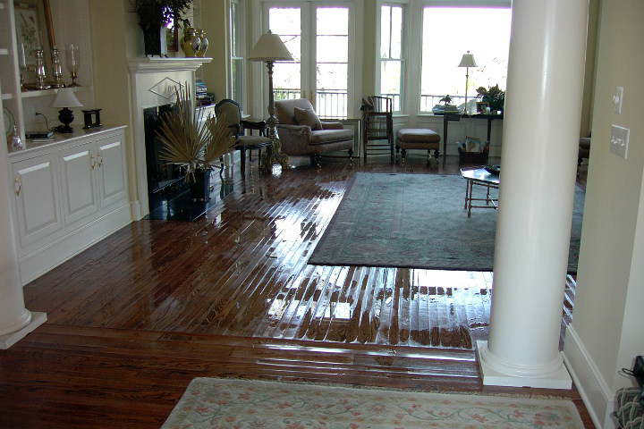 image of water damage to hardwood floors