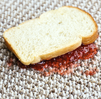 image of a jelly sandwich giving a red stain to carpet